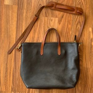 Madewell ziptop transport tote in black brown